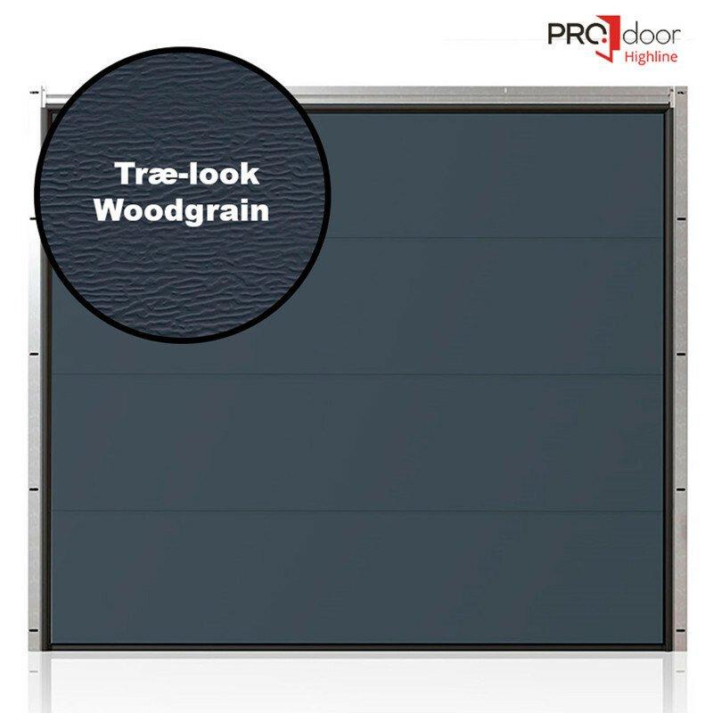 Ledhejseport fra ProDoor, Highline, Flat, Træstruktur, Antracit, inkl. portautomatik